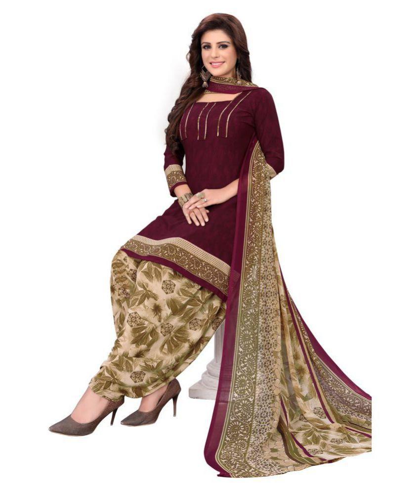 Salwar Studio Purple Synthetic Dress Material