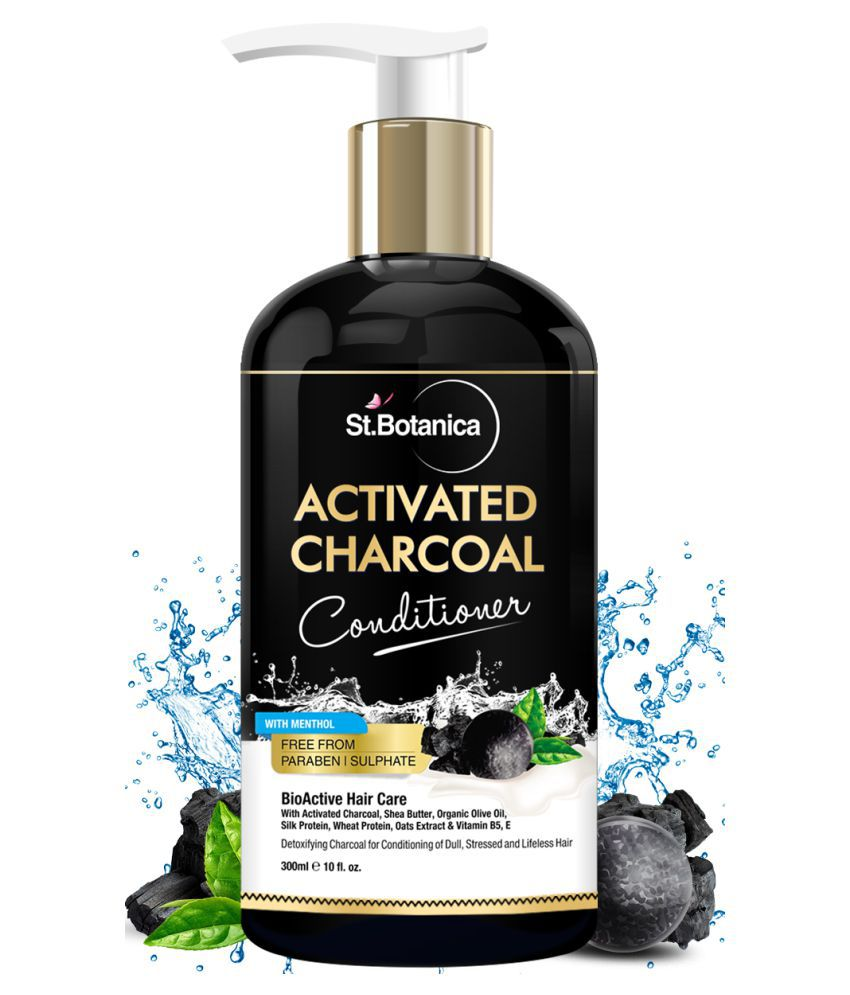StBotanica Activated Charcoal Conditioner Deeply Purifies Impurities & Refreshing Menthol Deep Conditioner 300 mL
