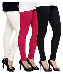 Swastik Stuffs Cotton Lycra Pack of 3 Leggings