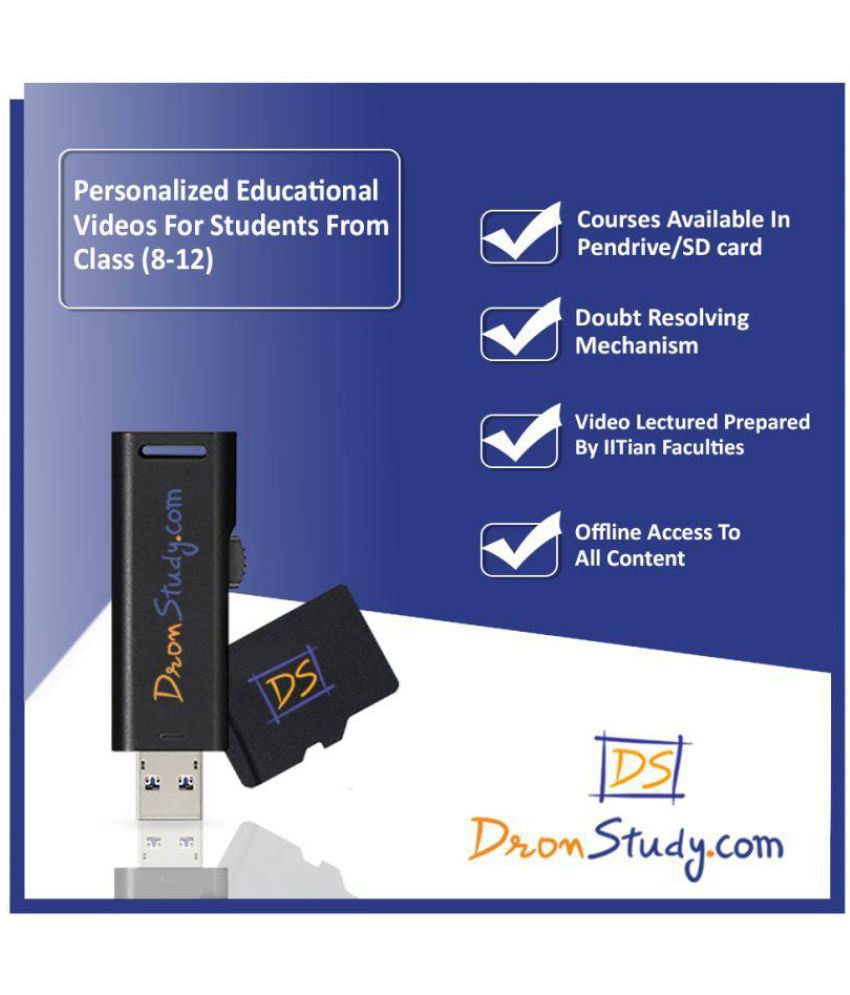 DronStudy Class 11+12 IIT-JEE Physics, Chemistry & Maths Video Lecture  Course in Hindi Pen Drive