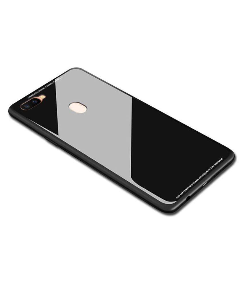 Realme U1 Mirror Back Covers KOVADO - Black 360°  Luxurious Toughened Glass Back Case