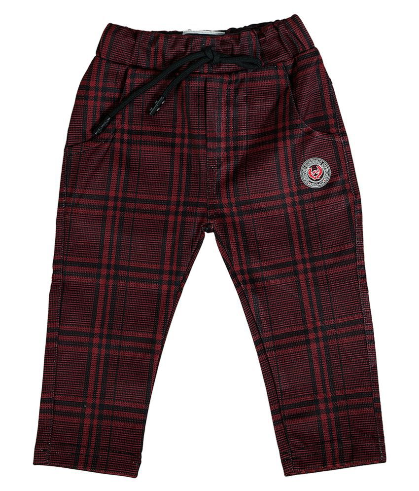 Gusto Baby Boy's Maroon Self Chex Relaxed Jogger Pants