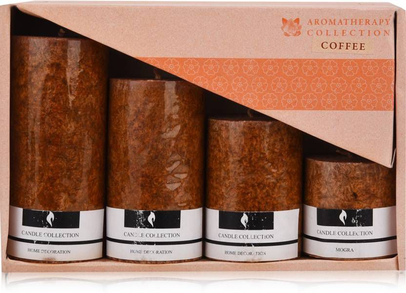 Ein Sof Brown Pillar Candle - Pack of 4