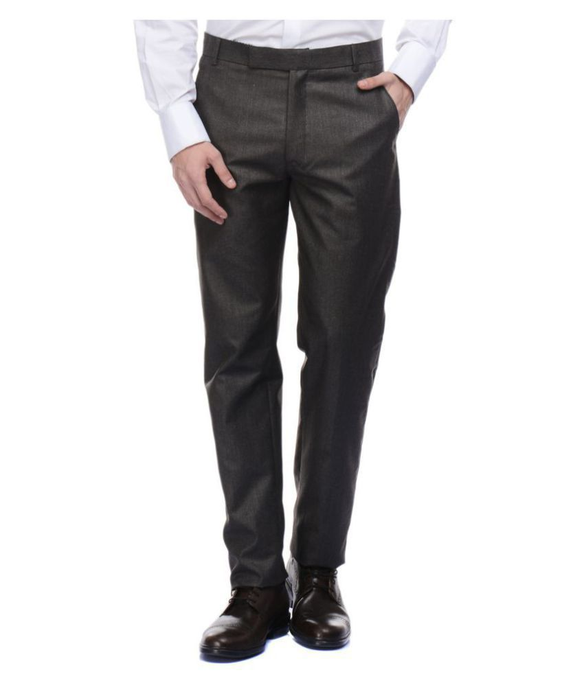 VESTILO Brown Slim -Fit Flat Trousers