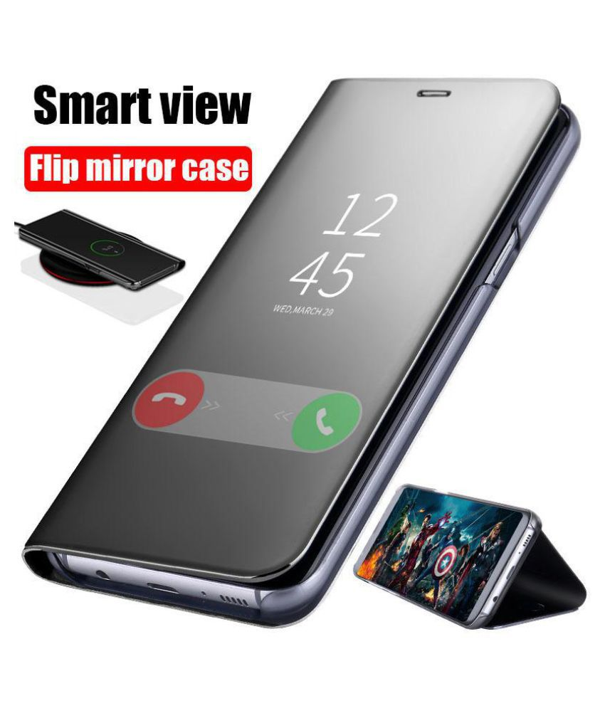 new products b6360 f89fe Samsung Galaxy J7 Prime Flip Cover by Worth IT - Black Luxury Clear View  Electroplated Mirror Flip Cover