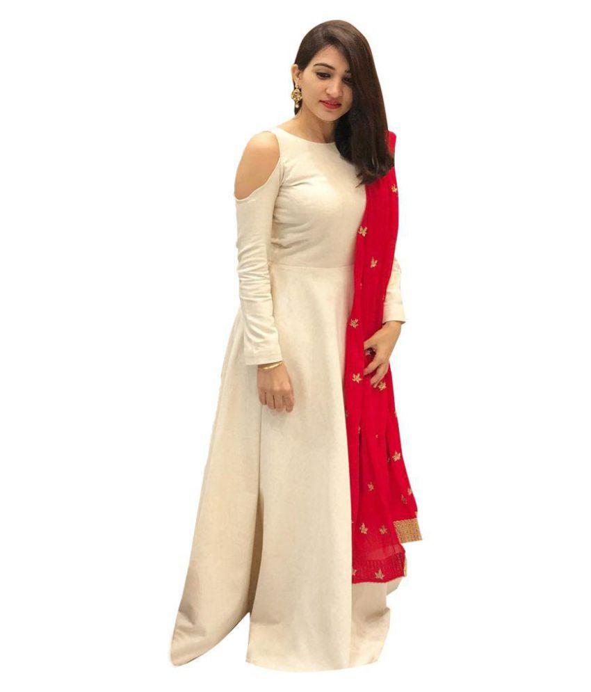 2a054bb38b ... Silk Anarkali Gown Semi-Stitched Suit - Buy ethnic diwa White Bangalore  Silk Anarkali Gown Semi-Stitched Suit Online at Best Prices in India on  Snapdeal