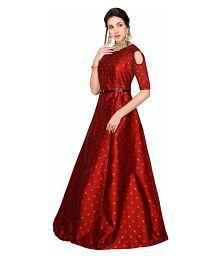 sherline creation Maroon Silk Gown