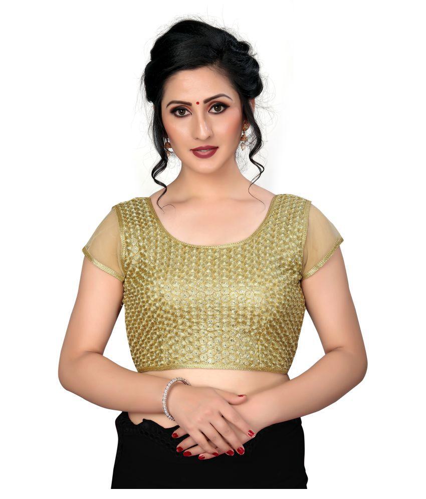Amrutam Fab Beige Silk Readymade with Pad Blouse