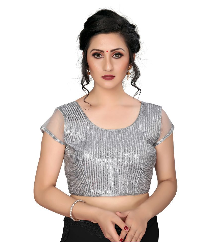Amrutam Fab Silver Silk Readymade with Pad Blouse