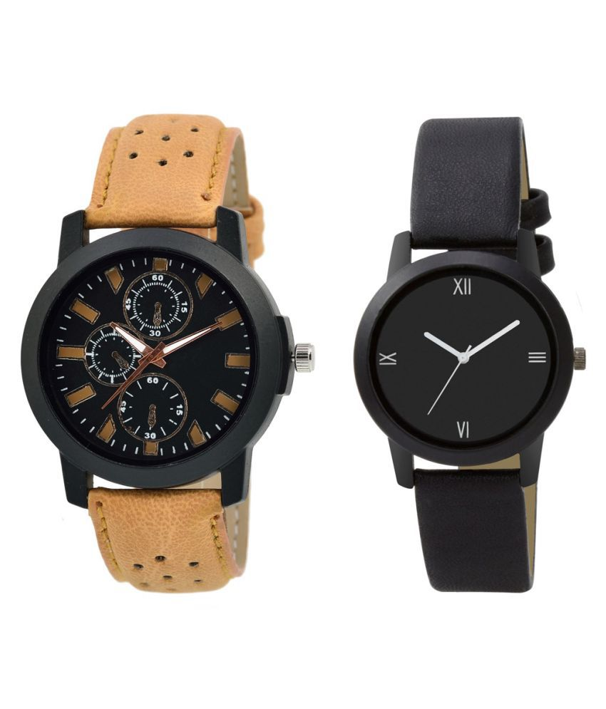MF Set Of 2 Attractive Couple Brown And Black Watches For Boys And Girls