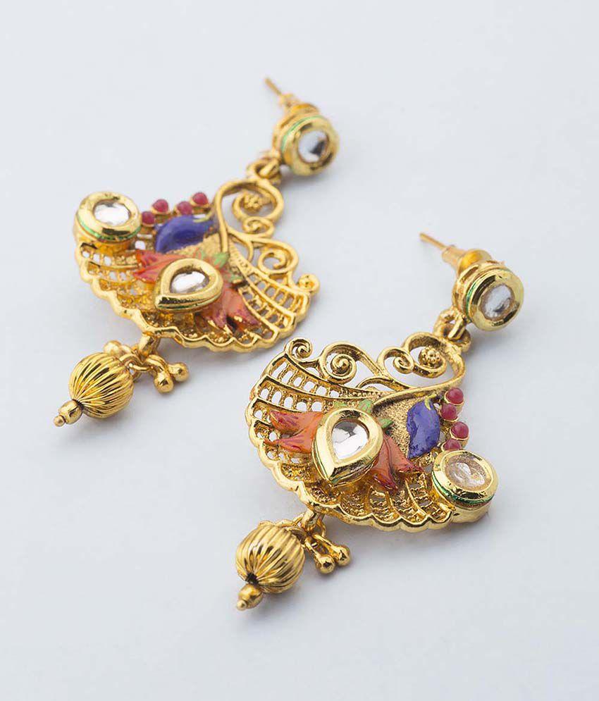Voylla Kundan Studded Blue & Orange Enamel Designer Earrings For Women