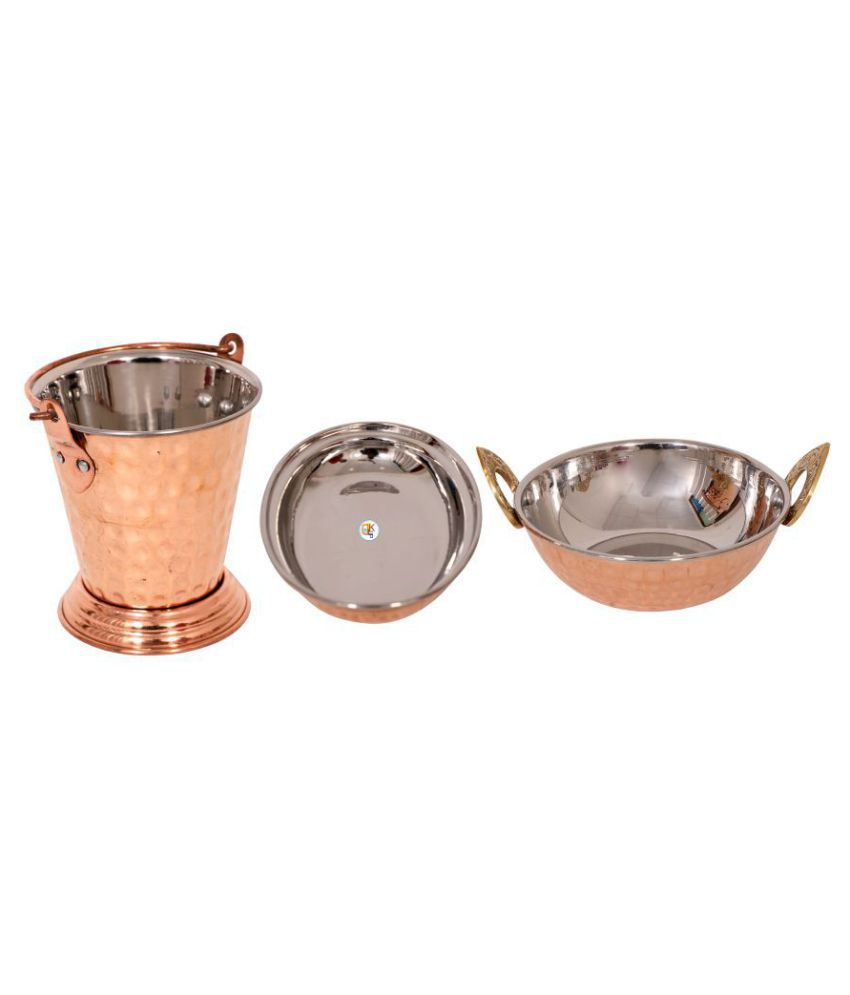 Copper Steel Serving Plate , Kadhai with Balti