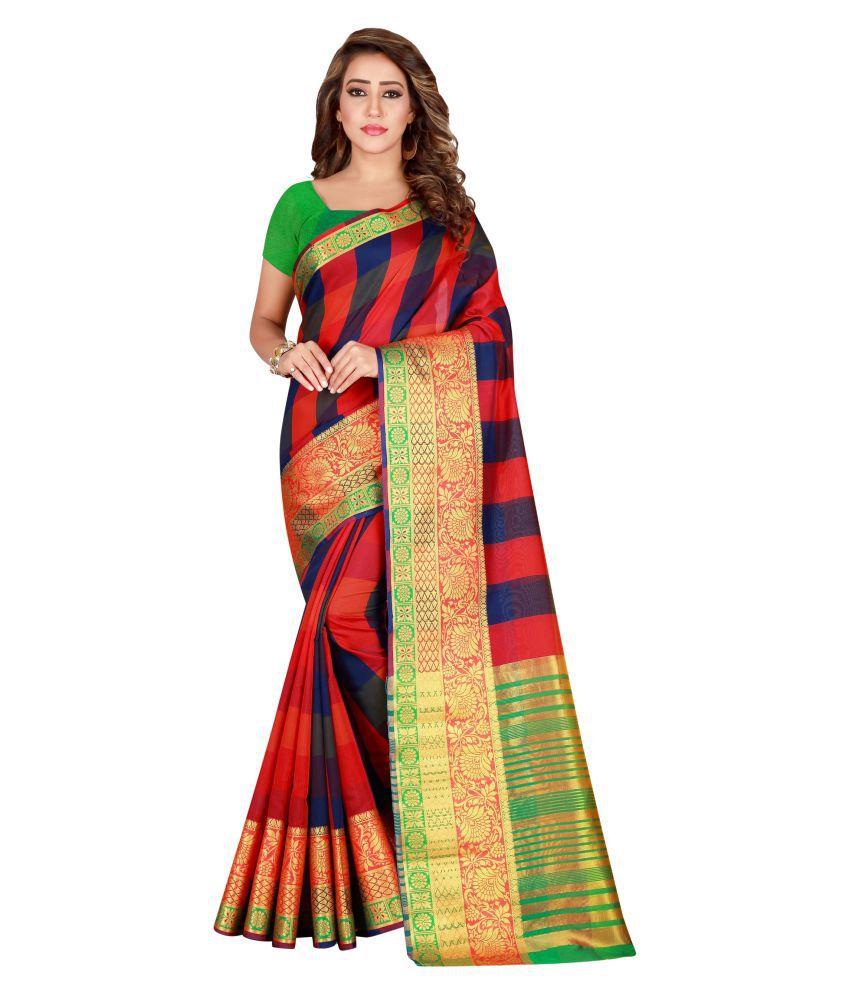 Peora's closet Orange Banarasi Silk Saree