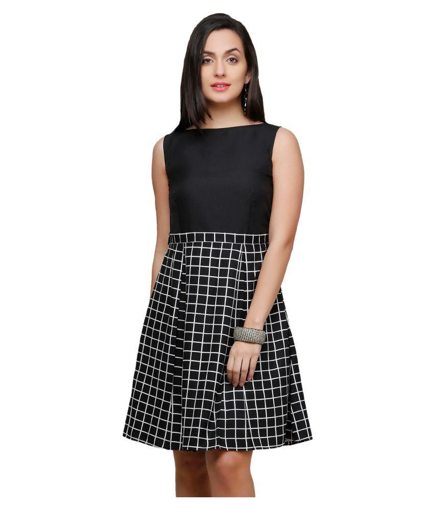 V&M Poly Crepe Black A- line Dress