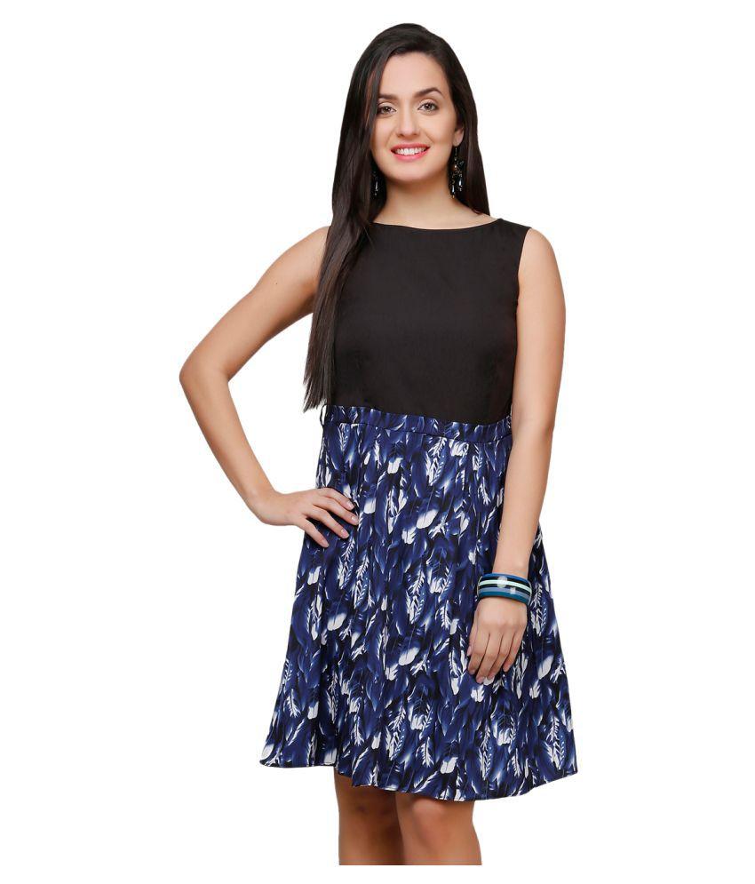 V&M Poly Crepe Multi Color A- line Dress