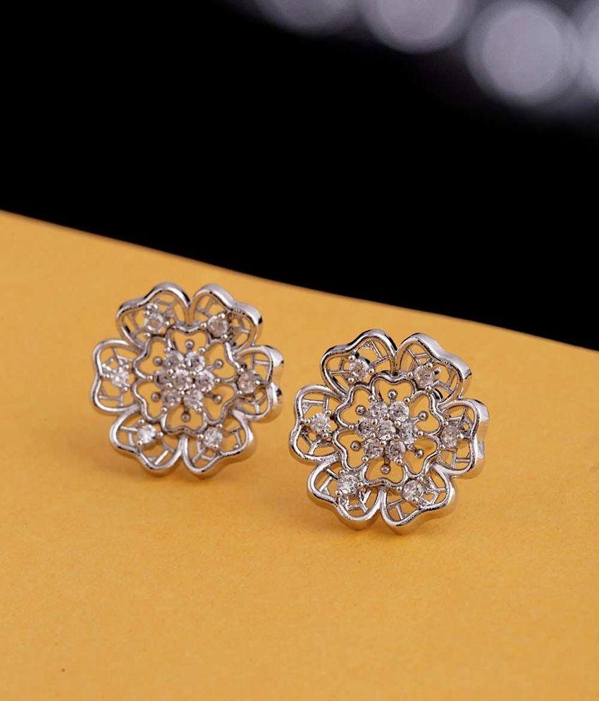 Voylla CZ Floral Stud Earrings
