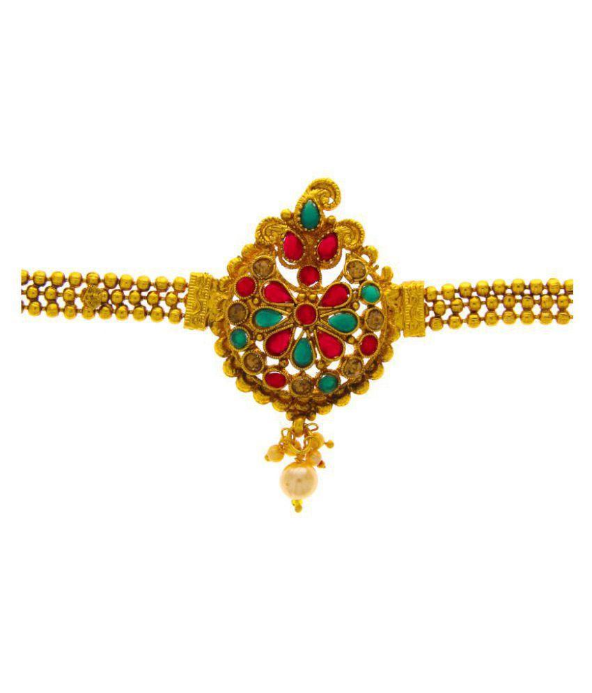 Anuradha Art Red-Green Colour Drop Shape Wonderful Traditional Bajuband/Armlets For Women/Girls
