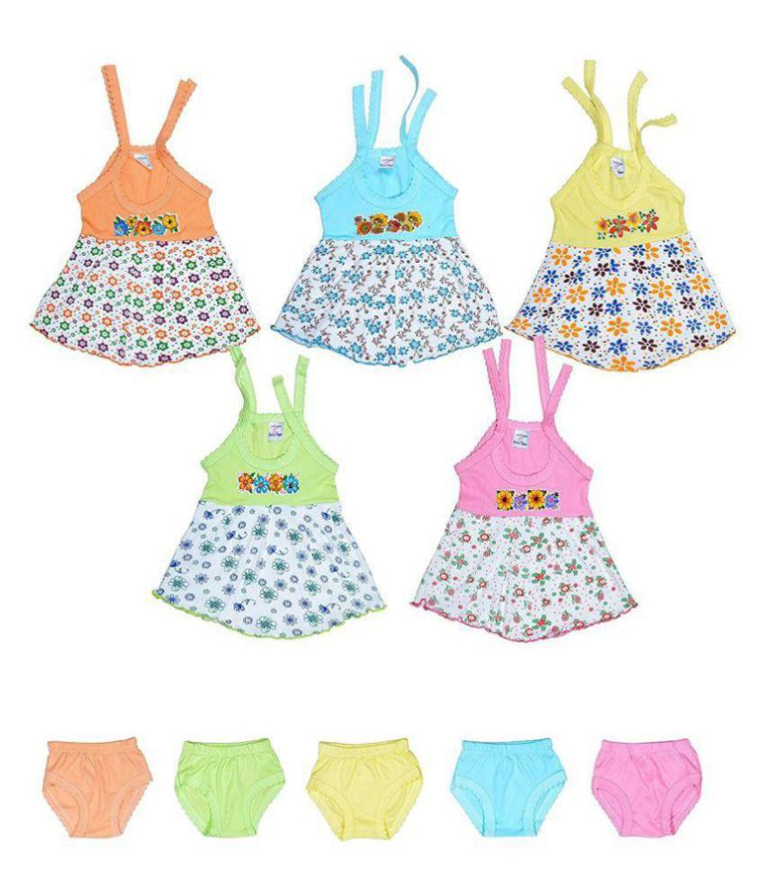 Sathiyas baby Girls Colorful Gowns with Jettys - Pack of 5