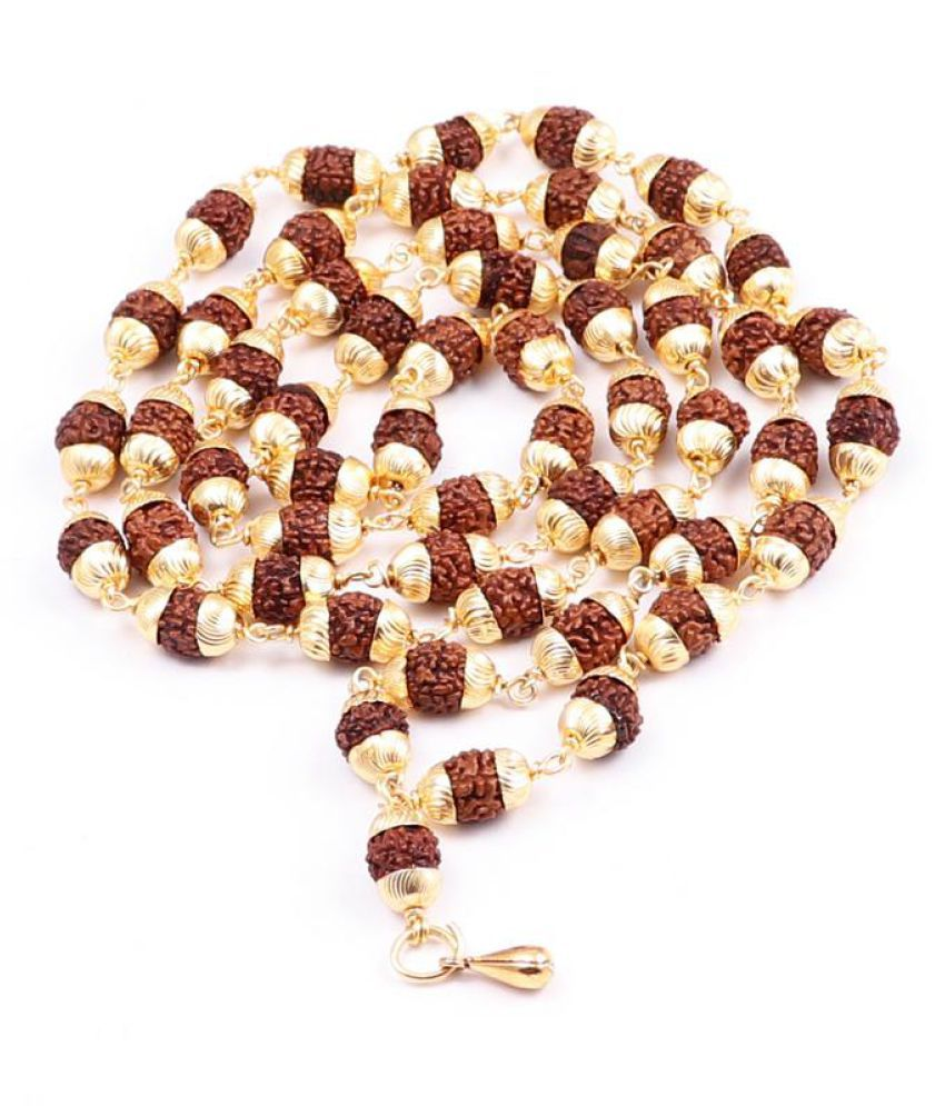Rudra Blessings 5 Mukhi Rudraksha Mala in  Gold Plated caps with lucky charm Hanuman Gada Pendant