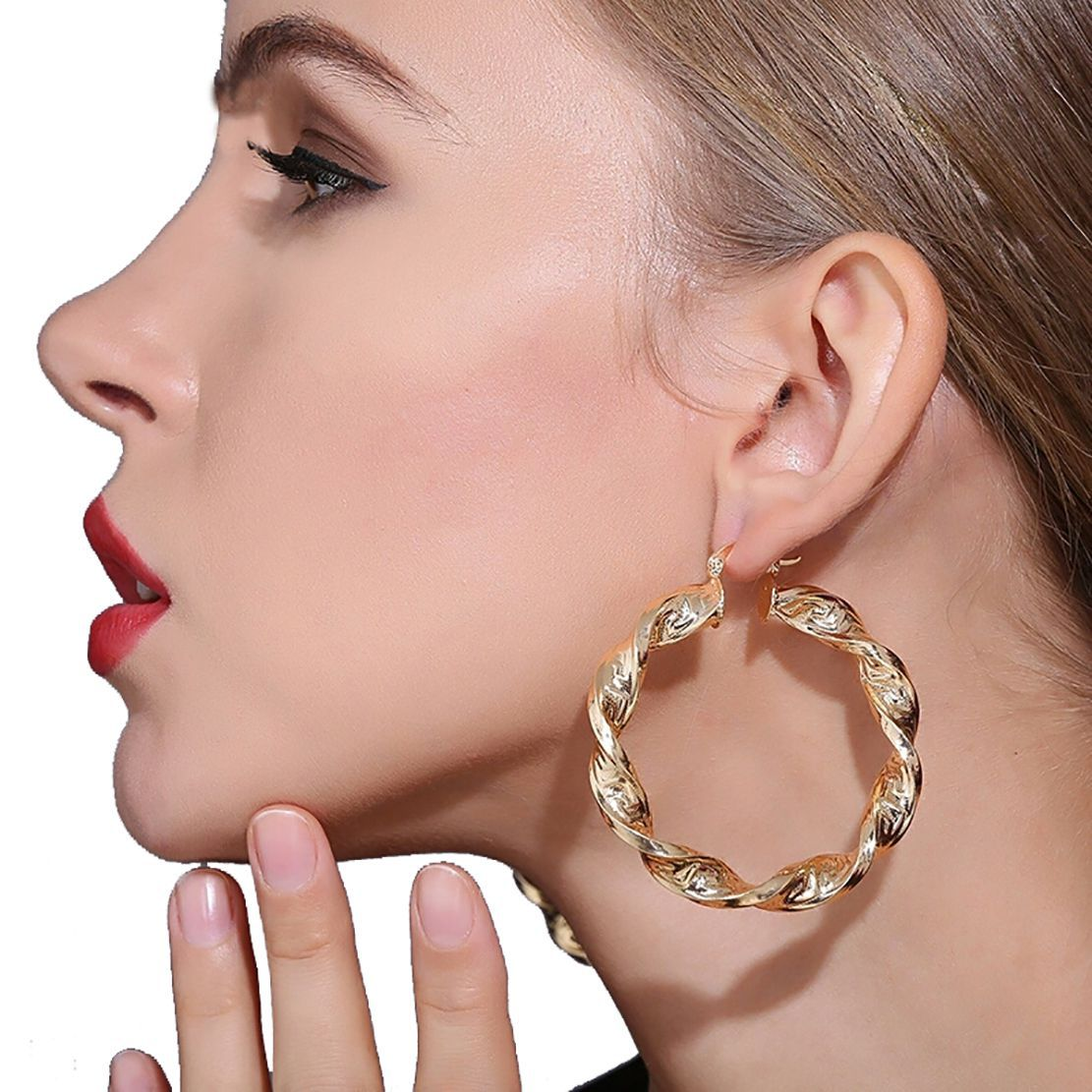 Ziory 18K Gold plated Metal Twisted Hoop Round fashion Party Earrings Women Golden Gold Plated Oval Hoop Big Earrings Copper Ear Studs For Girls and Women