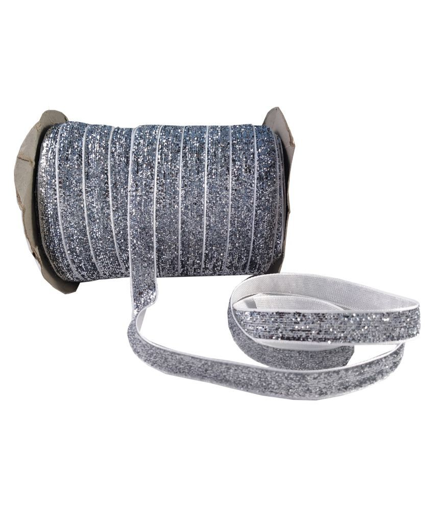 Utkarsh (Silver) Multi-Purpose Sparkling Glitter Ribbon Gota Lace For Wedding Party Decoration, Gift Box Wrapping Embellishment, Art And Craftworks With (0.25 Inch Width And 18 Mtr. Roll)