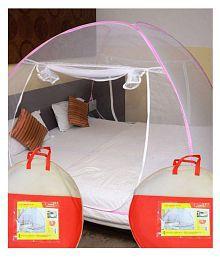 Athena Creations King Size Pink & White Plain Mosquito Net