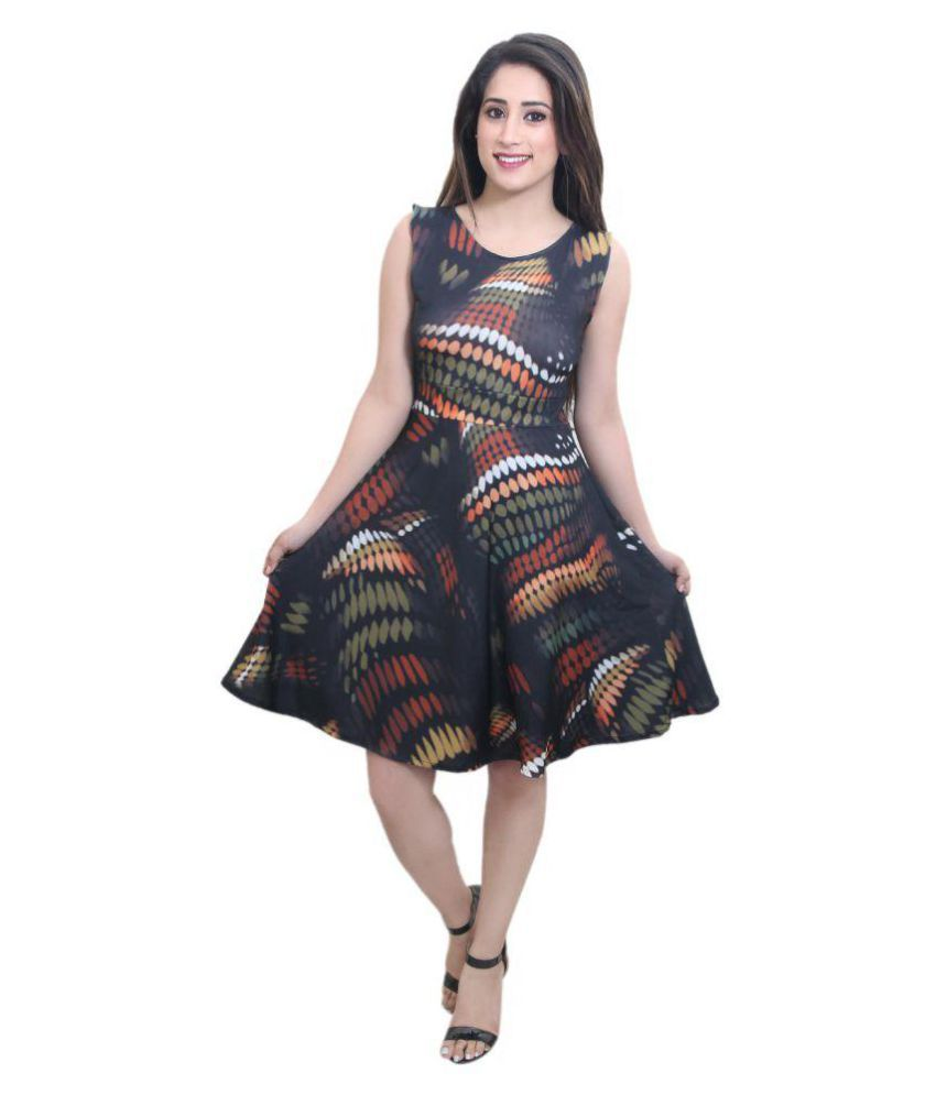 CrazeVilla Polyester Multi Color Skater Dress