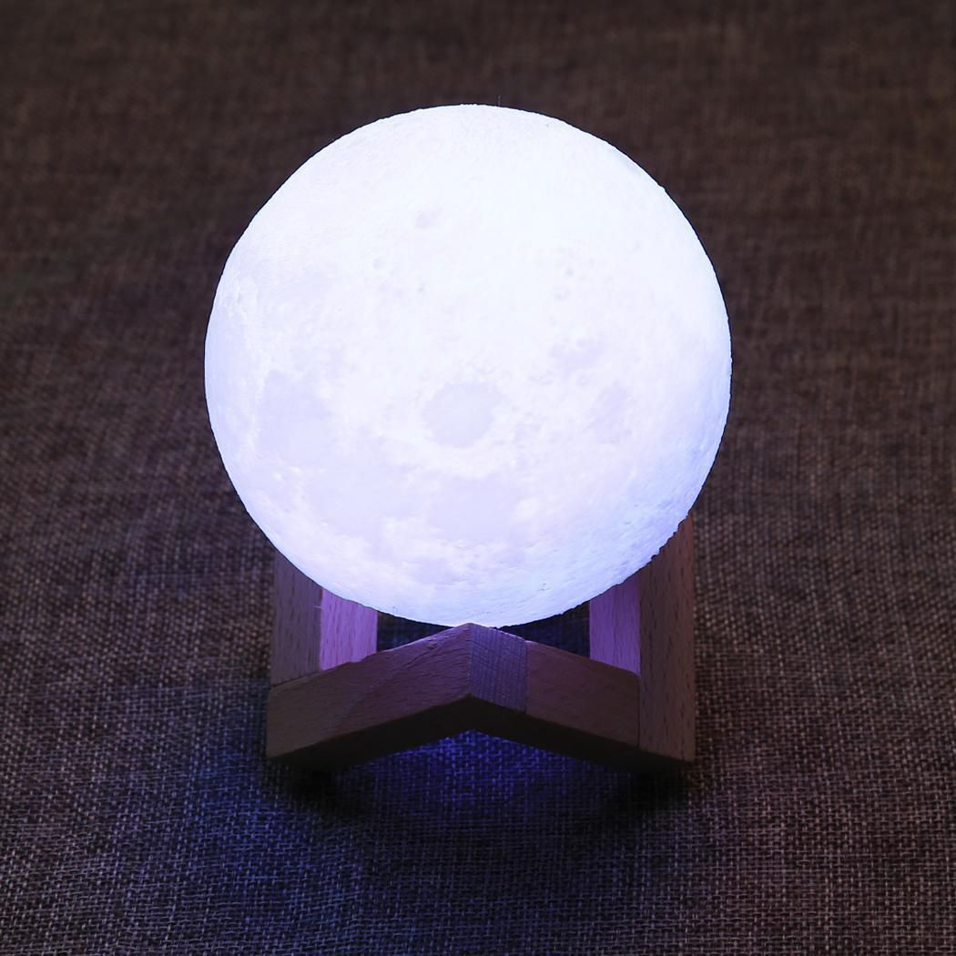 3D Print Moon LED Lamp Touch Switch or 16 Colors Remote Control Brightness Adjustable with Wooden Stand 3 Lamp Types 3.9 Inch