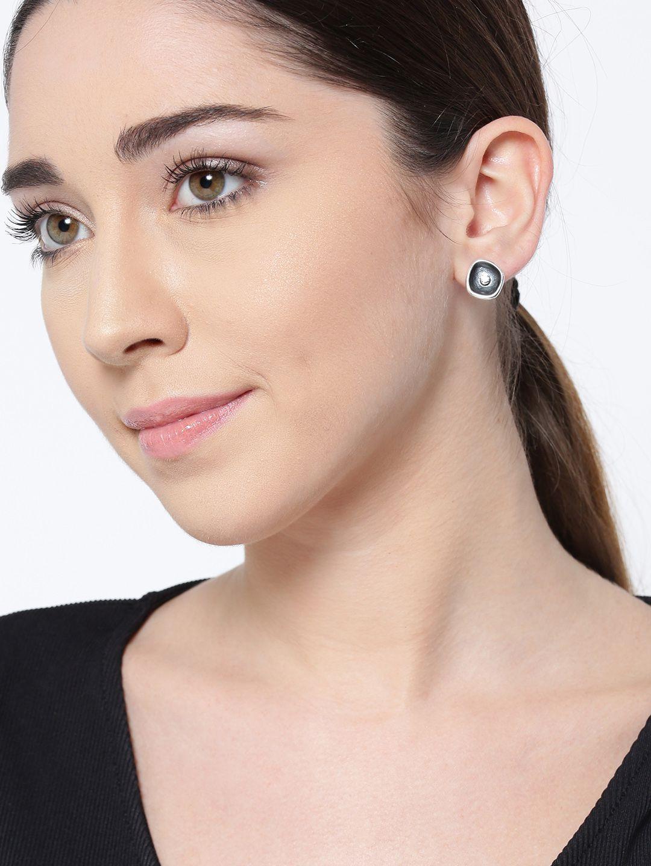 Prita Gunmetal-toned silver-plated Daily Wear/Office Wear Stud Earrings For Girls & Women