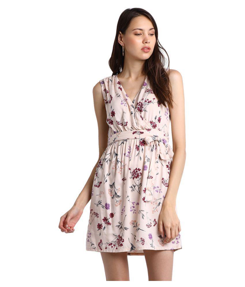 Global Republic Rayon Beige Wrap Dress