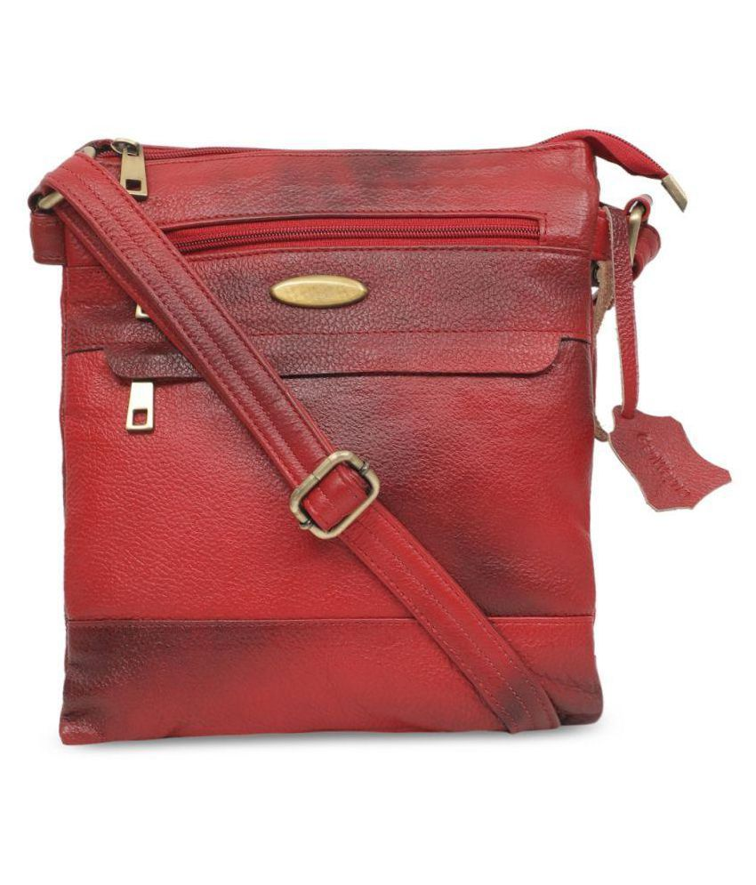 GENWAYNE Red Pure Leather Sling Bag