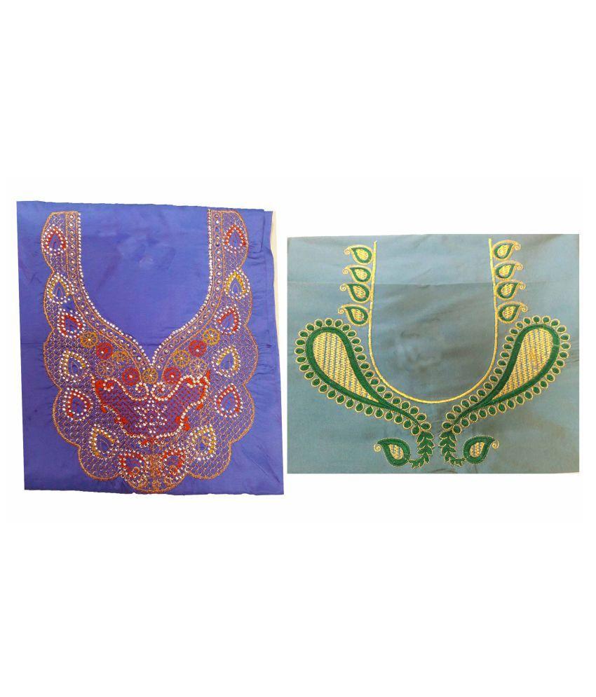 GreenViji Multicoloured Art Silk Unstitched Blouse