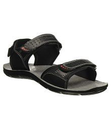 Bata Black Synthetic Floater Sandals