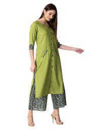 903569ac81f Fashion Tree Green Rayon Straight Stitched Salwar Suit(Palazzo Suit)