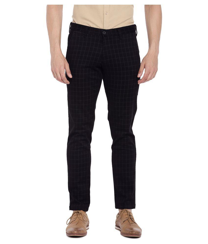 EASIES by KILLER Black Slim -Fit Flat Trousers