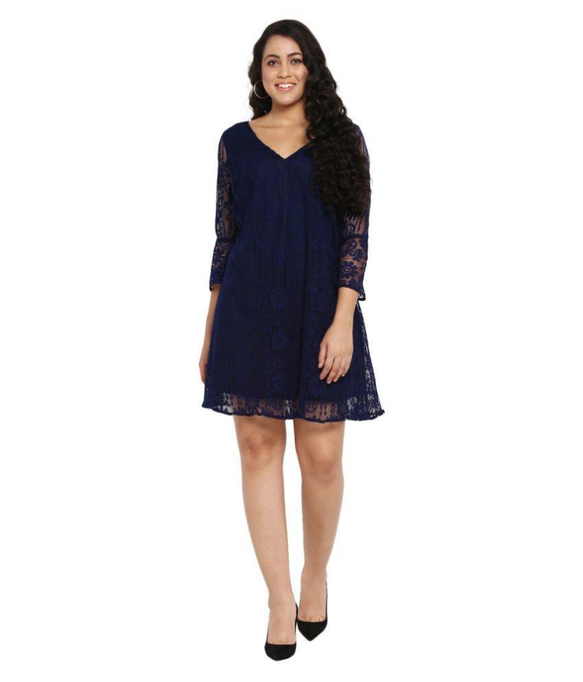 Qurvii Net Blue A- line Dress