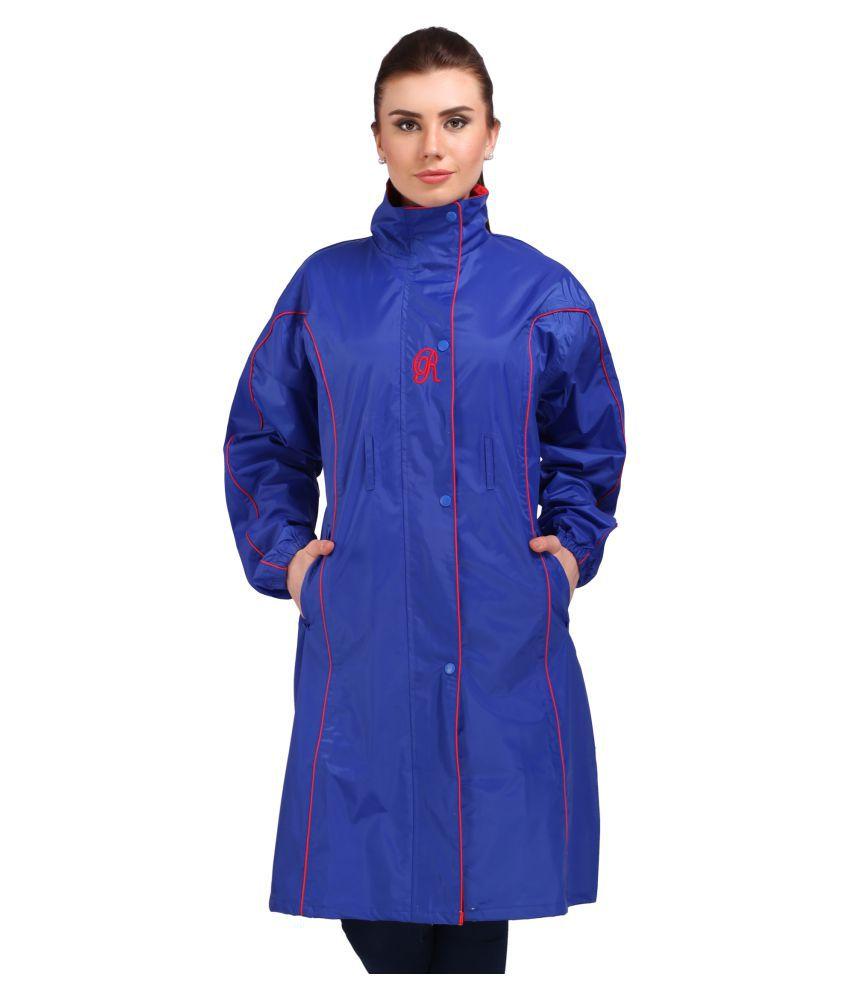 Goodluck Polyester Long Raincoat - Blue