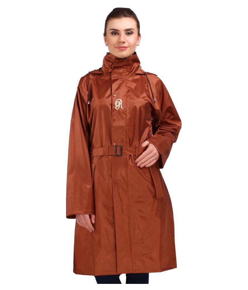 Goodluck Polyester Long Raincoat - Brown