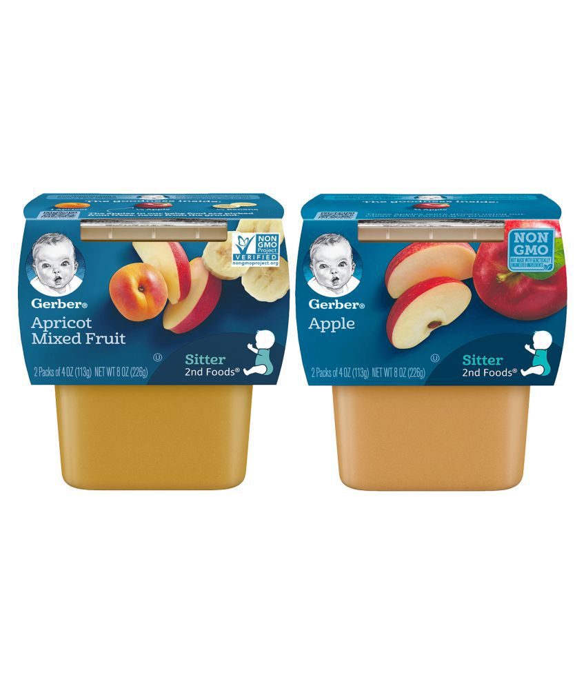 Gerber Apples + Apricot with Mixed Fruit Snack Foods for 12 months + ( 452 gm ) Pack of 2