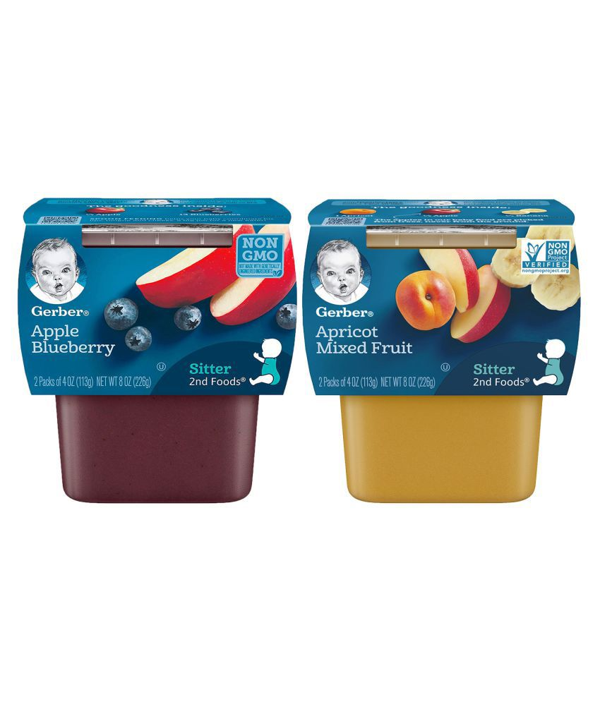Gerber Apricot Mixed Fruit, Apple Blueberry Snack Foods for 12 months + ( 452 gm ) Pack of 2