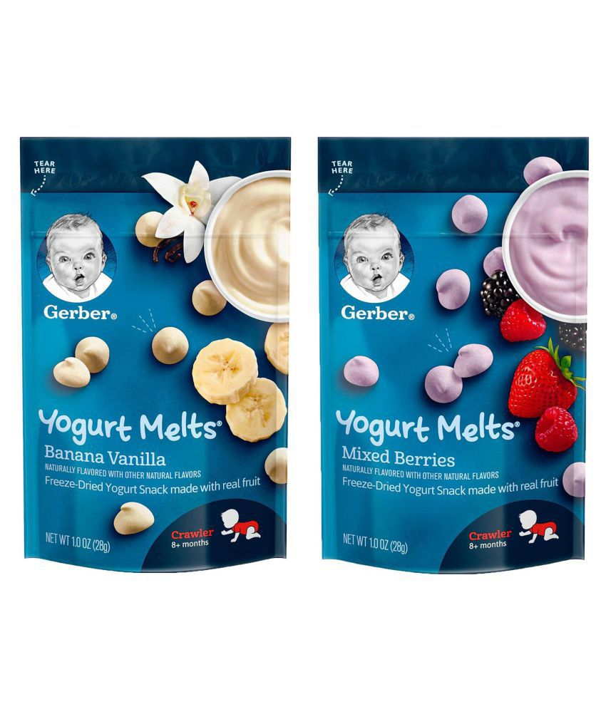 Gerber Banana Vanilla & Mixed Berries Snack Foods for Under 6 Months ( 56 gm ) Pack of 2