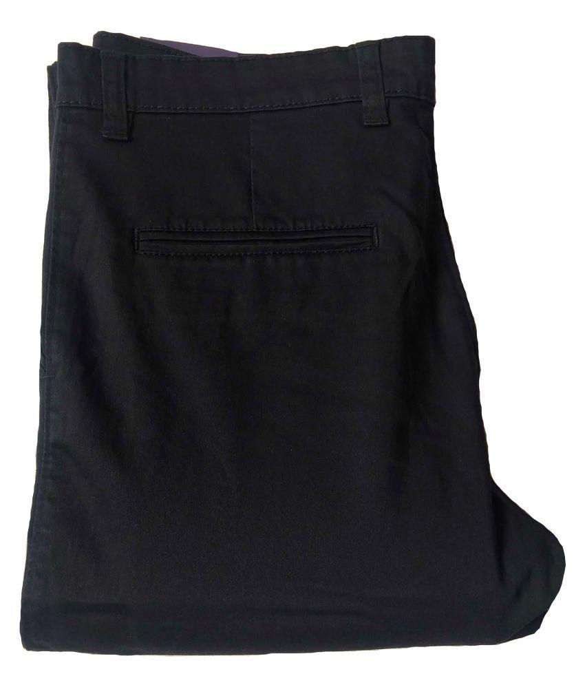 iwearwolf Black Regular -Fit Flat Trousers