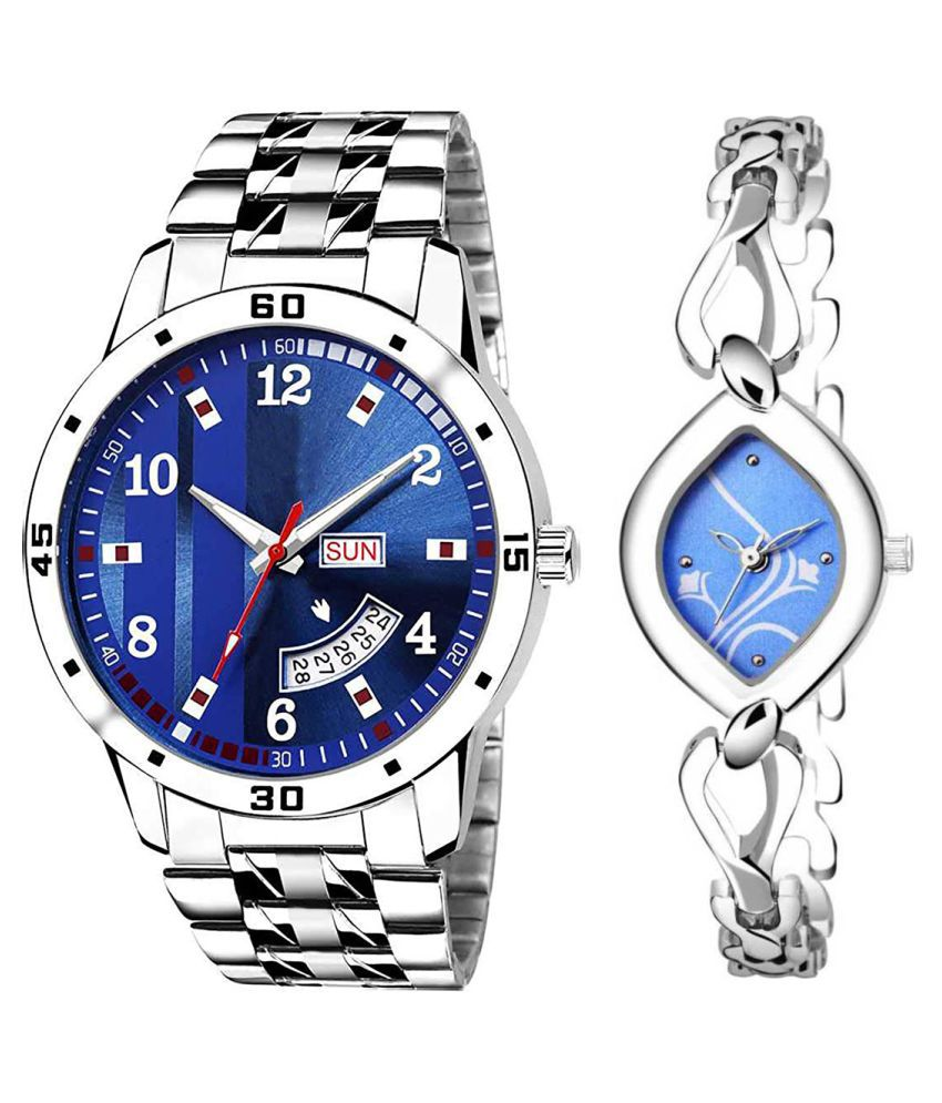 Herita Enterprise Blue Dial Day And Date New Stylish Couple Watch For Men And Women 201