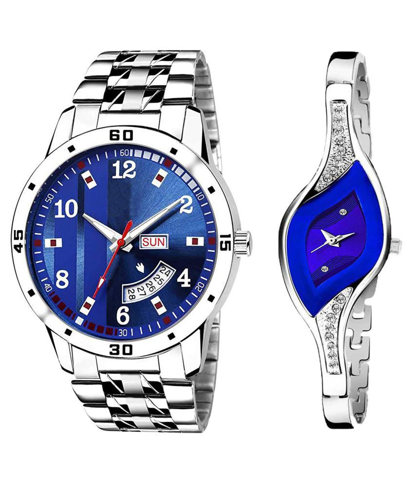 Herita Enterprise Blue Dial Day And Date New Stylish Couple Watch For Men And Women 193