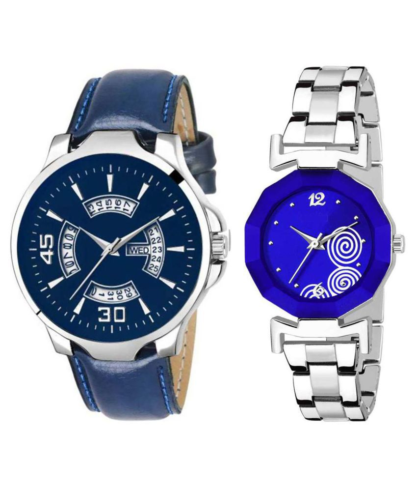 Herita Enterprise Blue Dial Day And Date New Stylish Couple Watch For Men And Women 146