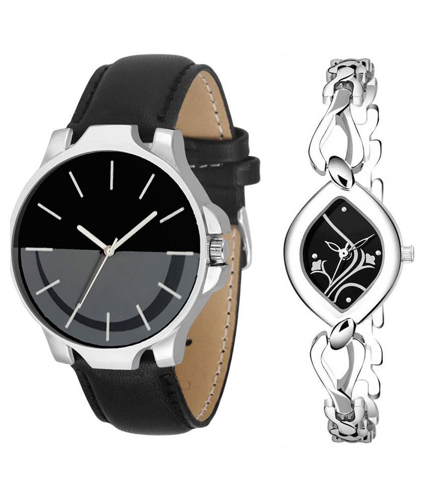 Herita Enterprise Black Dial Fancy Couple Watch For New Lovers 105