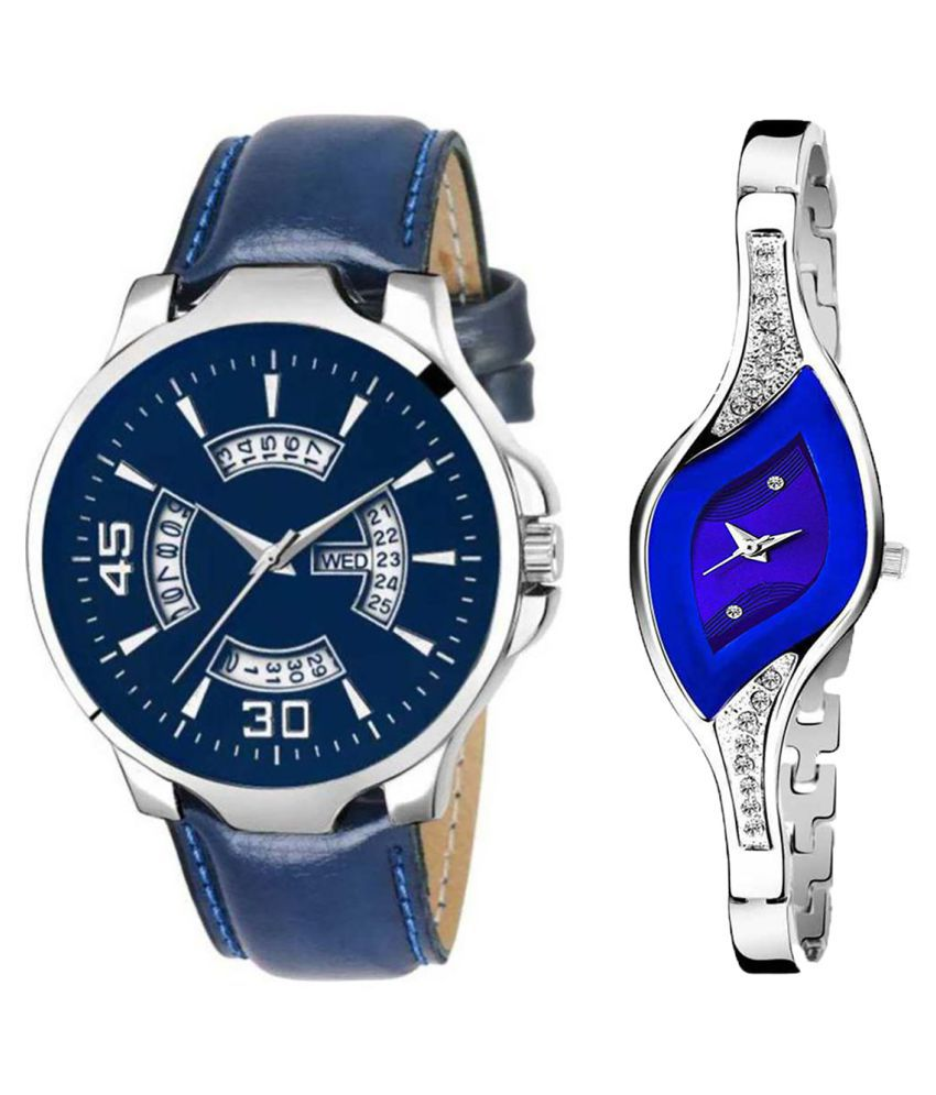 Herita Enterprise Blue Dial Day And Date New Stylish Couple Watch For Men And Women 145