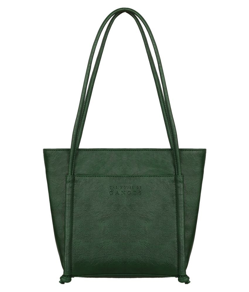 THE HOUSE OF GANGES Green Faux Leather Tote Bag