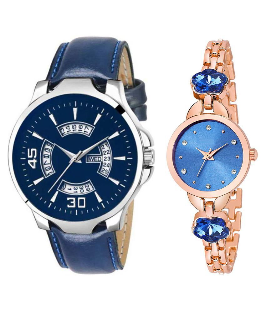 Vasant Impex Blue Dial Day And Date New Stylish Couple Watch For Men And Women 143