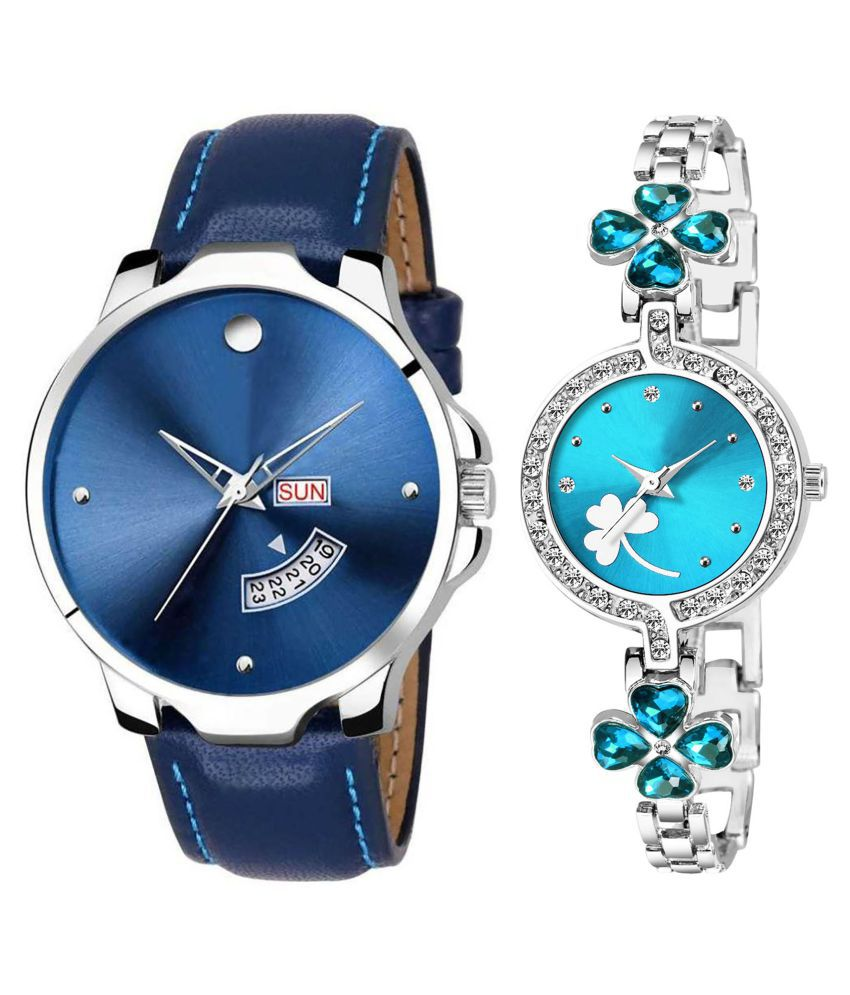 Vasant Impex Blue Dial Day And Date New Stylish Couple Watch For Men And Women 183